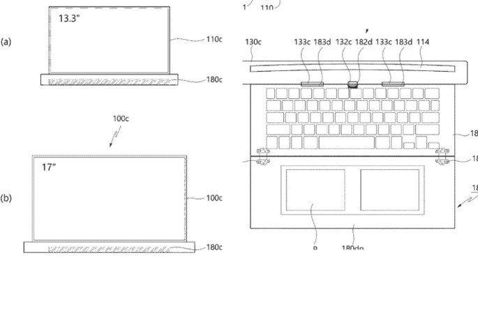 LG patente portátil ecrã rolável