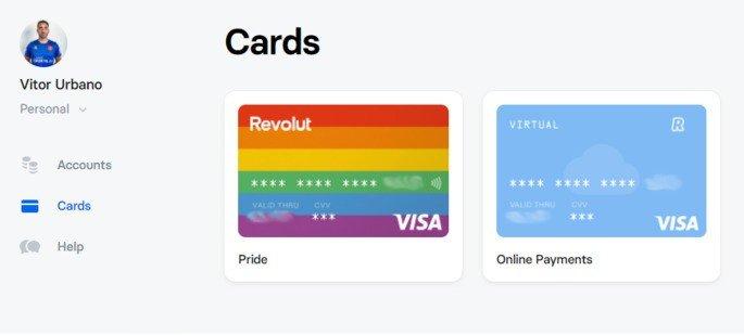 Revolut Web cartões