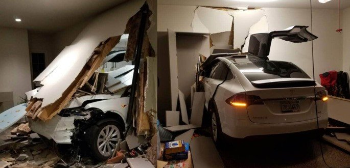 Tesla acidente garagem china