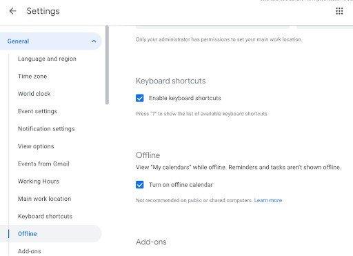 Calendário Google ativar modo Offline