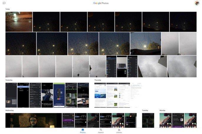 Google Fotos tablet