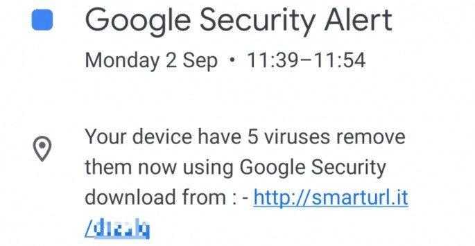 Calendário Google Spam