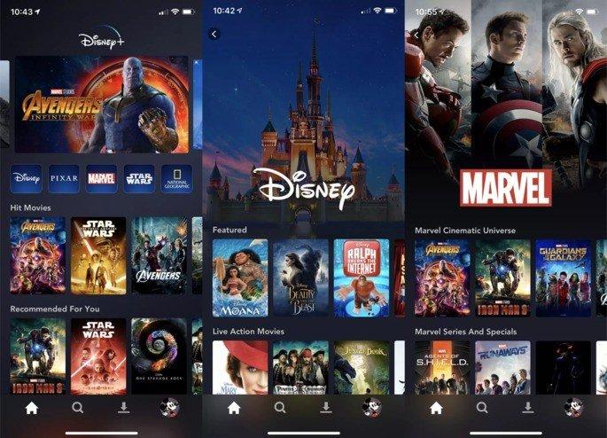 Disney+ aplicação smartphone