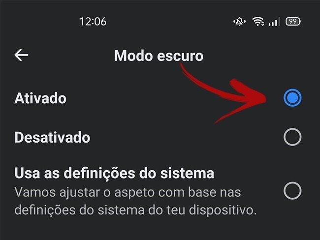 Facebook Modo Escuro Android