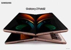 Imagem do Samsung Galaxy Z Fold 2 mostra smartphone dobrável com grandes ecrãs