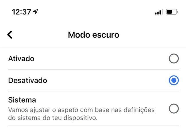 Facebook Modo Escuro iOS