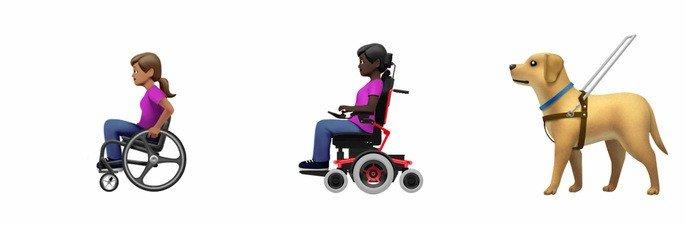 emojis androis ios cadeira de rodas cão-guia