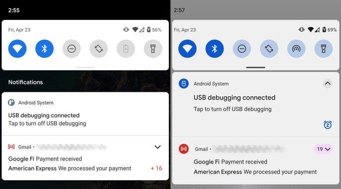 Notificações no Android 11 (esq.) e na Developer Preview 3 do Android 12 (dir.)