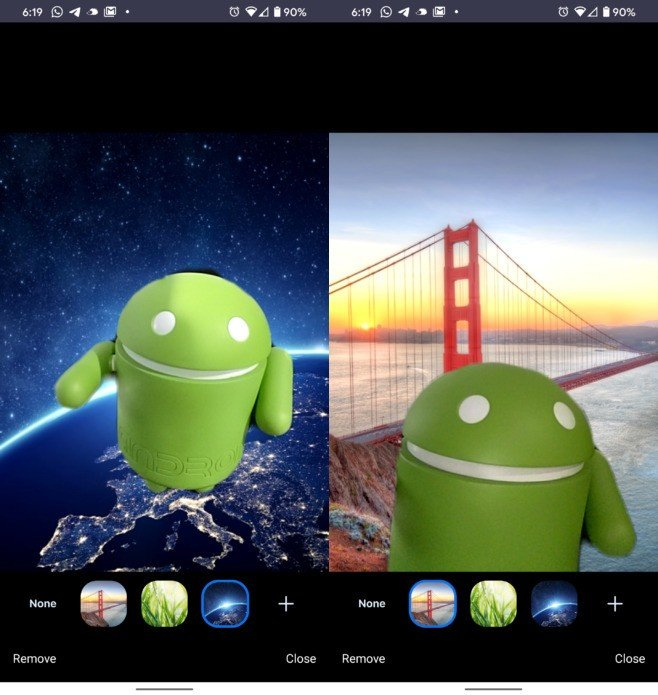 Fundo virtual na app para Android do Zoom. Crédito: Android Police