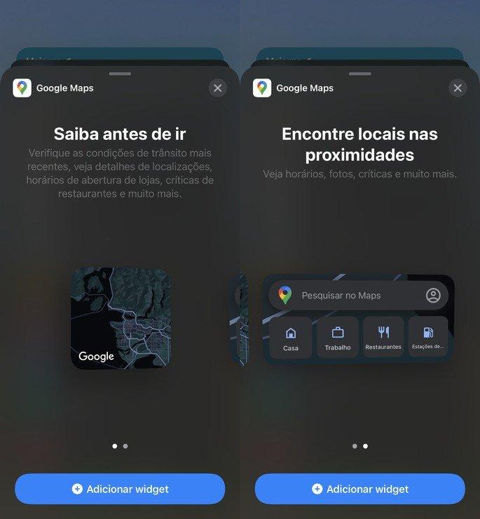 Os novos widgets do Google Maps para iPhone e iPad