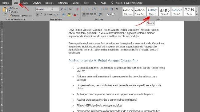 Estilos de texto no Microsoft Word