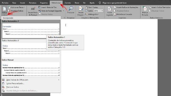 Inserir índice automático Microsoft Word