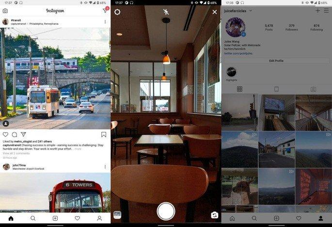 Interface atual do Instagram Lite