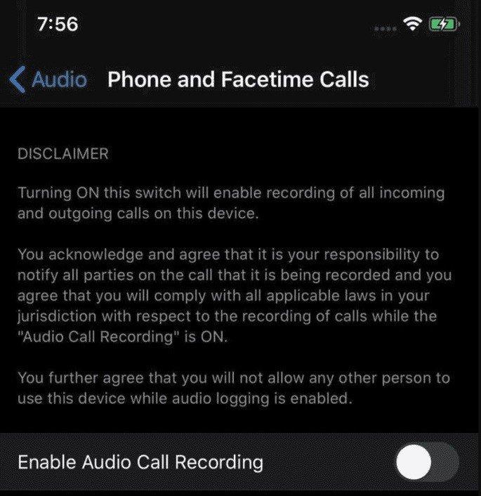 iOS 14 gravação chamadas