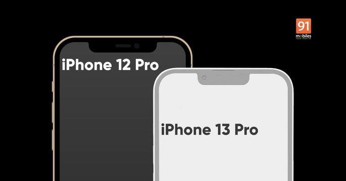 Comparação de tamanho da notch no iPhone 12 Pro e no alegado iPhone 13 Pro