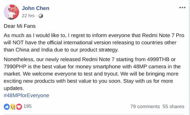 john chen versão global redmi note 7 pro