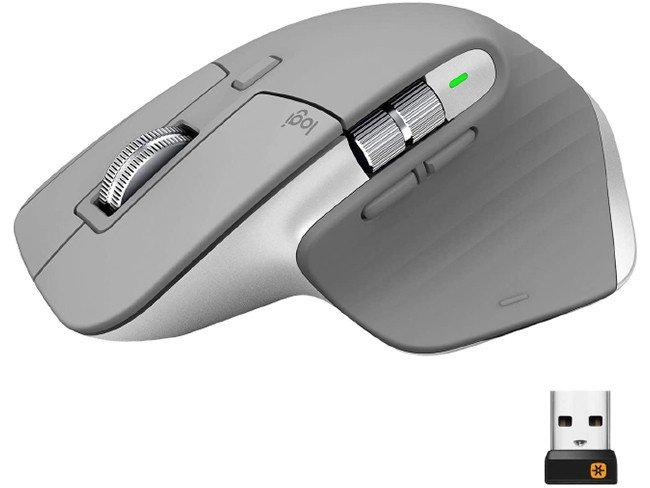 Rato Logitech MX Master 3 cinza em fundo branco