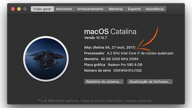 Definições do computador iMac 2017