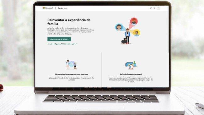Página de configuração conta família Microsoft