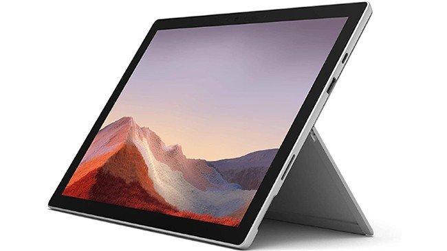 Silver Microsoft Surface Pro 7 Hybrid Notebook