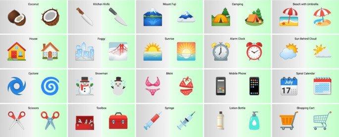 Emojis do Android 11 (esq.) e Android 12 (dir.)