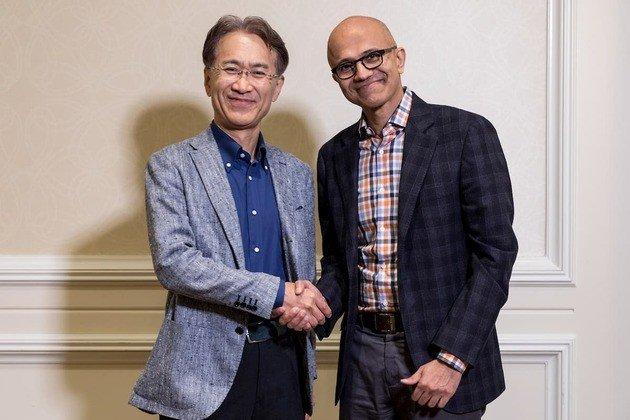 Kenichiro Yoshida CEO Sony Corporation Satya Nadella CEO Microsoft