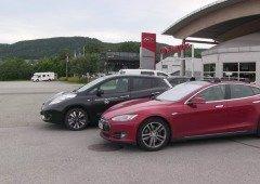 Nissan Leaf ultrapassa Tesla Model S em corrida (vídeo)
