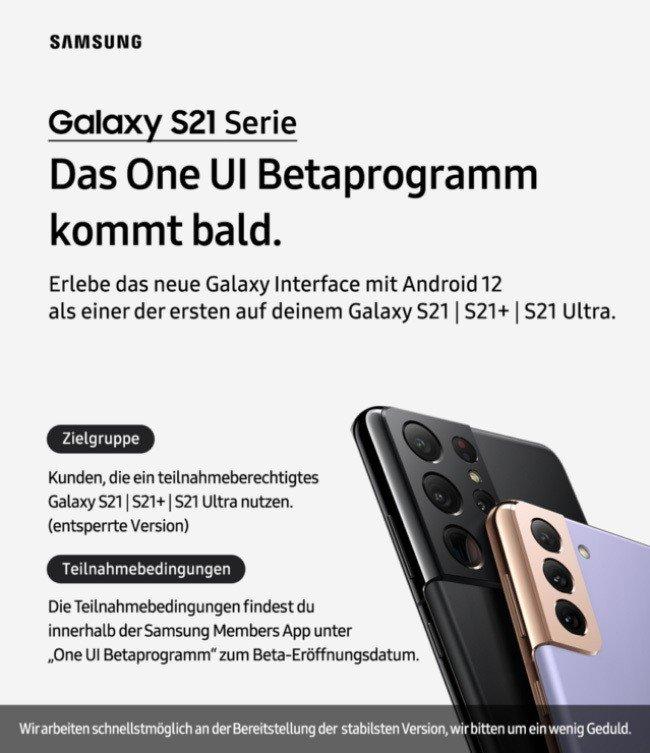 One UI Samsung Galaxy S21 Europa