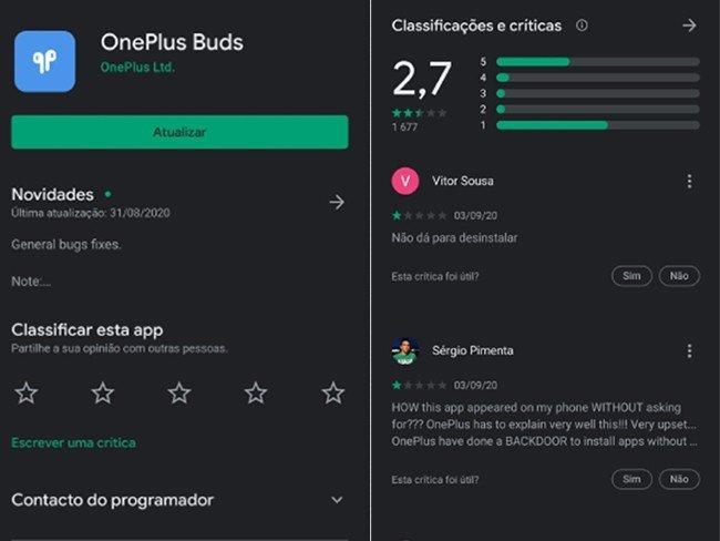 Avaliações da app OnePlus Buds