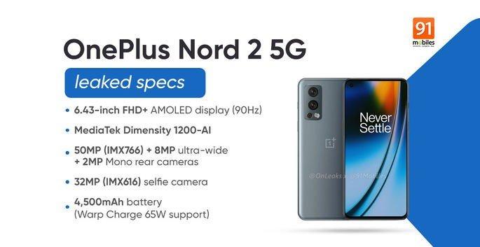 Principais especificações do OnePlus Nord 2, segundo o 91mobiles