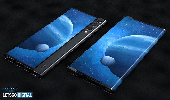 Representação da patente do smartphone com ecrã rolável da Xiaomi. Crédito: LetsGoDigital