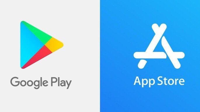 Logótipo da App Store e Play Store.