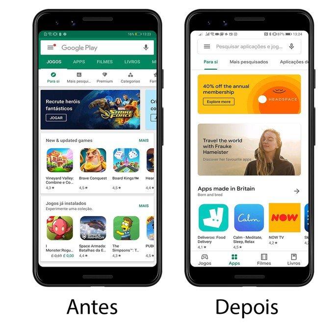 Google Play store novo design