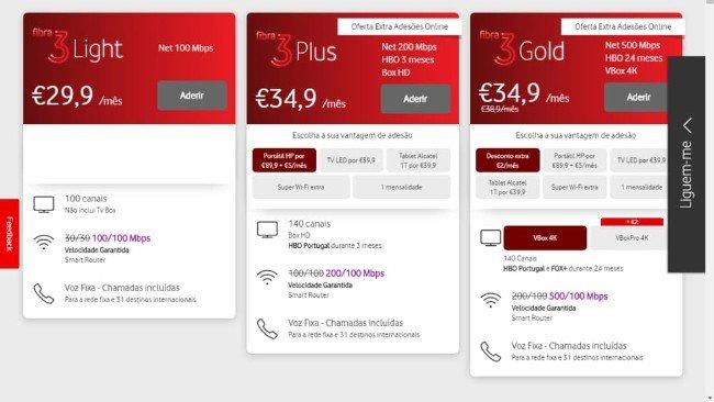 Pacotes 3P na Vodafone