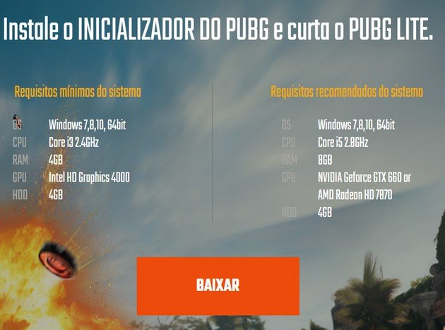 PUBG Lite Requisitos mínimo