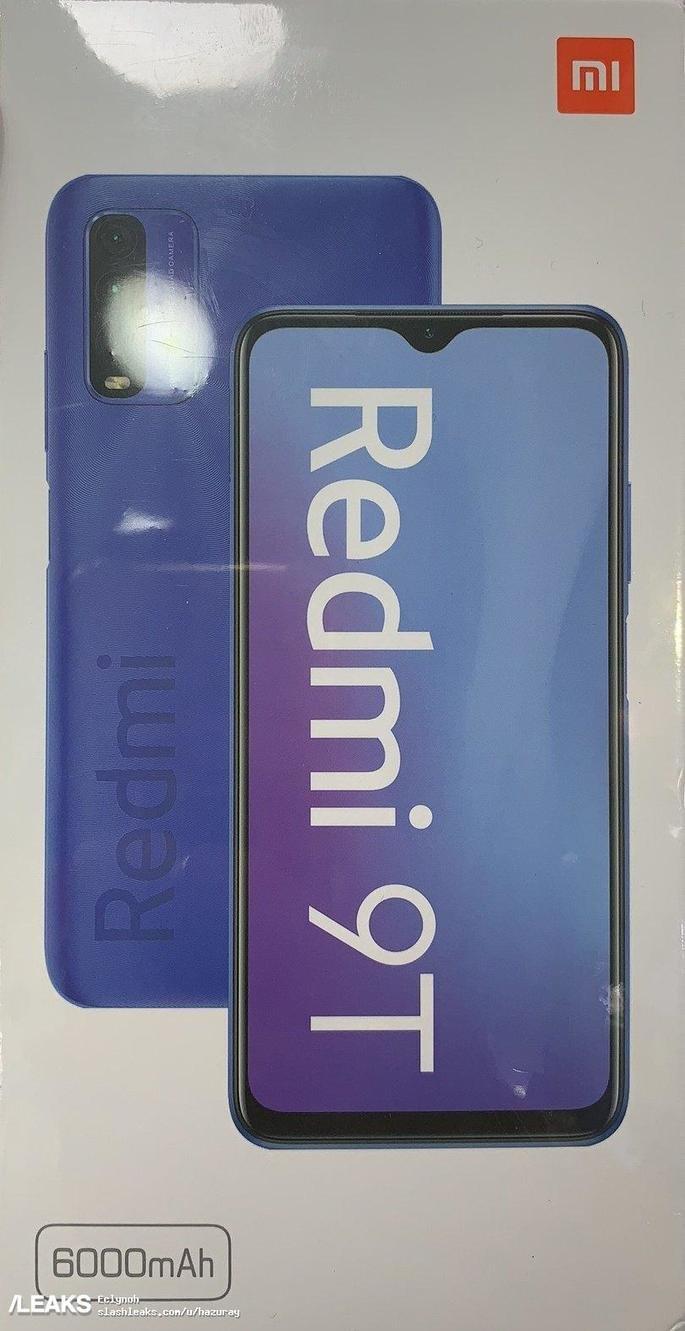 A caixa do Redmi Note 9T. Crédito: SlashLeaks