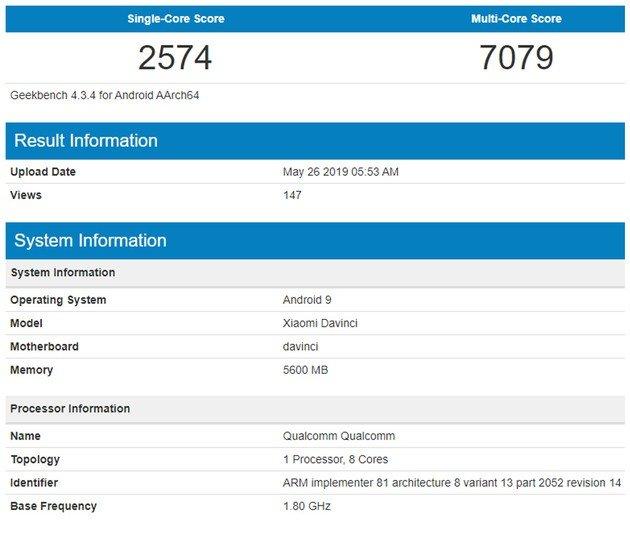 Xiaomi Redmi K20 Geekbench
