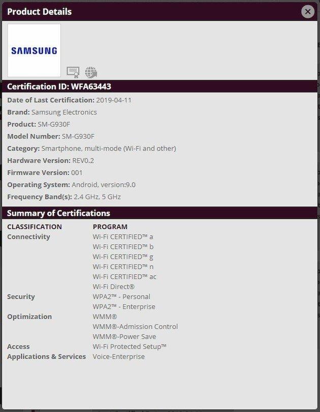 samsung galaxy s7 wifi certificação