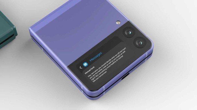 Imagem não oficial do Samsung Galaxy Z Flip 3