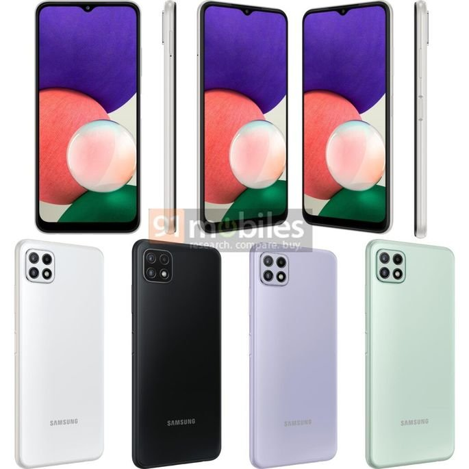 Renders não oficiais do Samsung Galaxy A22 5G. Crédito: 91mobiles