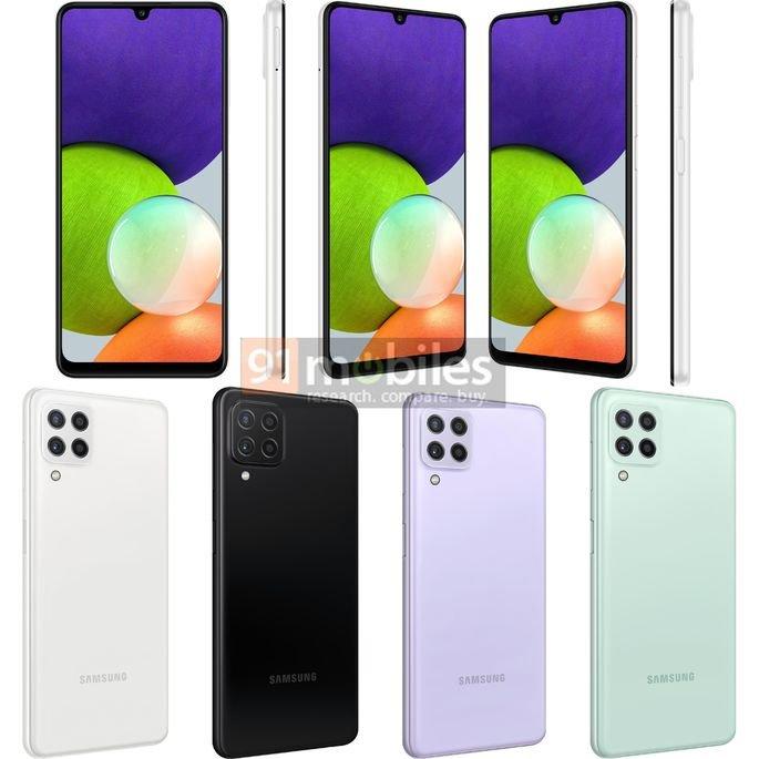 Renders não oficiais do Samsung Galaxy A22 4G. Crédito: 91mobiles