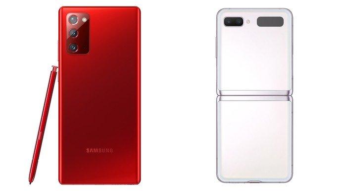 Samsung Galaxy Note 20 em Vermelho Místico e Samsung Galaxy Z Flip 5G em Branco Místico
