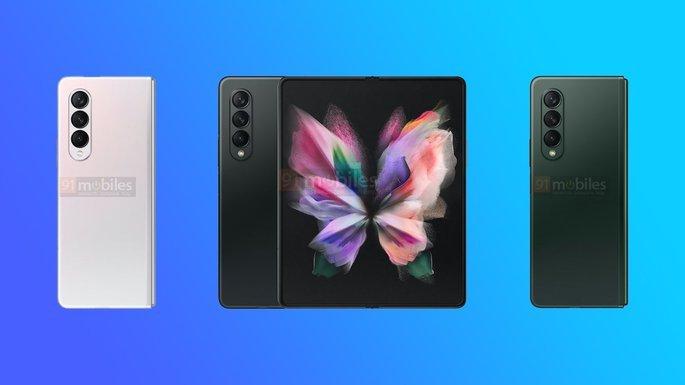 Design do Samsung Galaxy Z Fold 3 e Galaxy Z Flip 3. Crédito: 91mobiles