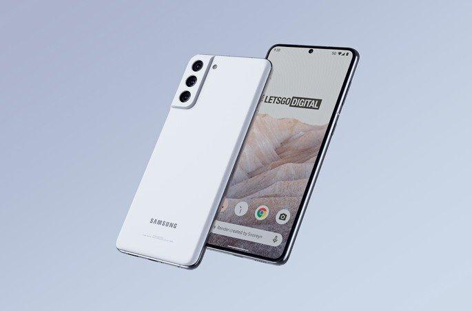 Design do Samsung Galaxy S21 FE baseado nas fugas de informação. Crédito: LetsGoDigital