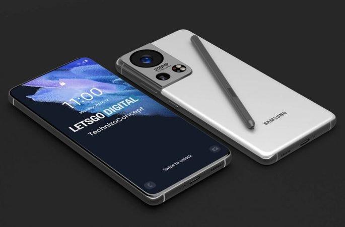 Conceito do Samsung Galaxy S22 Ultra. Crédito: LetsGoDigital
