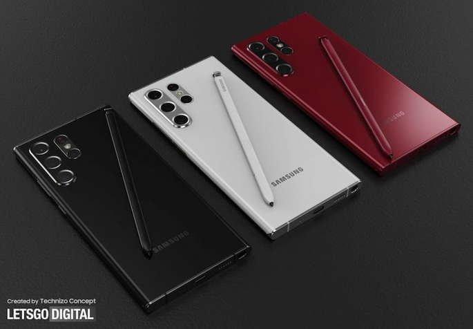 Renderizações não oficiais do Samsung Galaxy S22 Ultra. Crédito: LetsGoDigital / Technizo