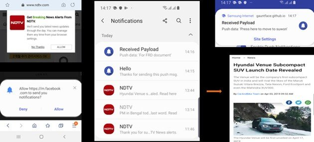 Samsung Browser notifications