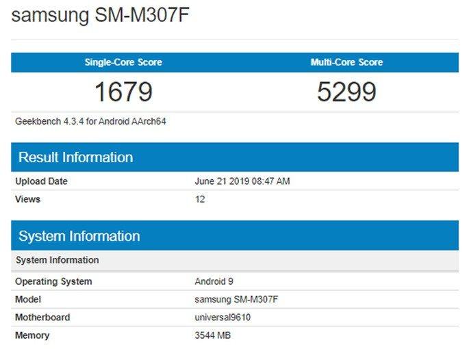 Samsung Galaxy M30s Geekbench