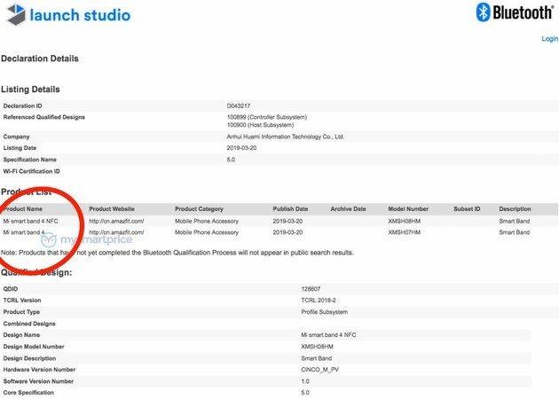 Certificação da Xiaomi Mi Band 4