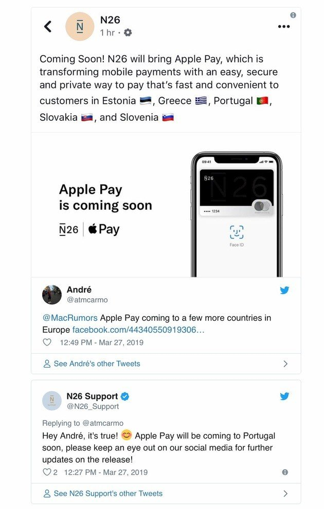 Apple Pay Portugal confirmação